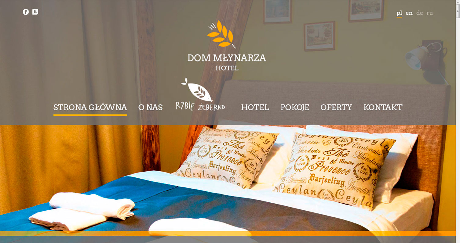 Main page of hotel Dom Mlynarza designed by Magdalena Czajka and developed by Rui Cardoso