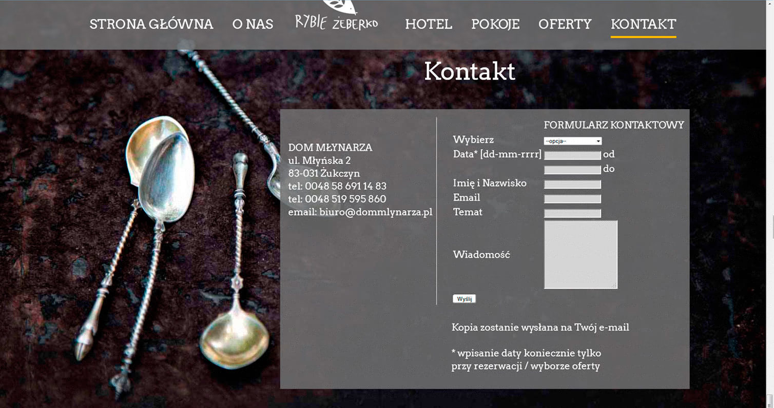 Contact page of Dom Mlynarza Hotel with photography of old spoons