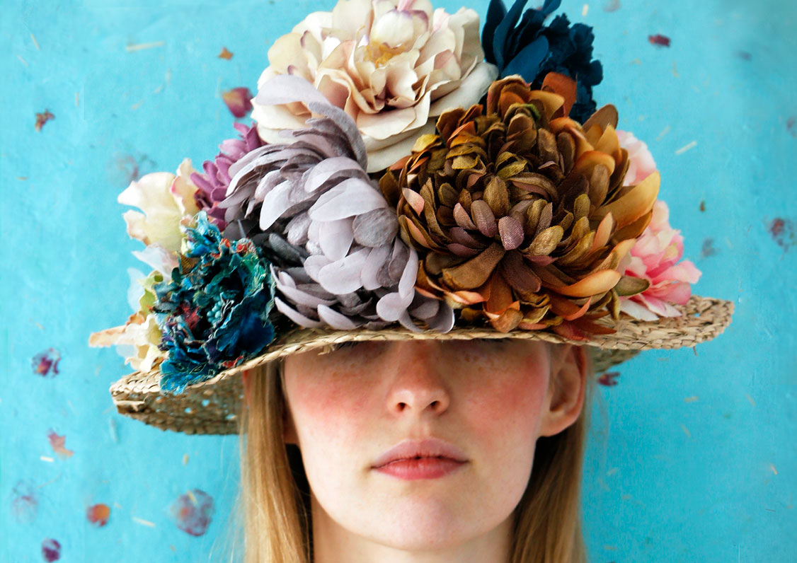Summer style, flowers on head and freckled girl