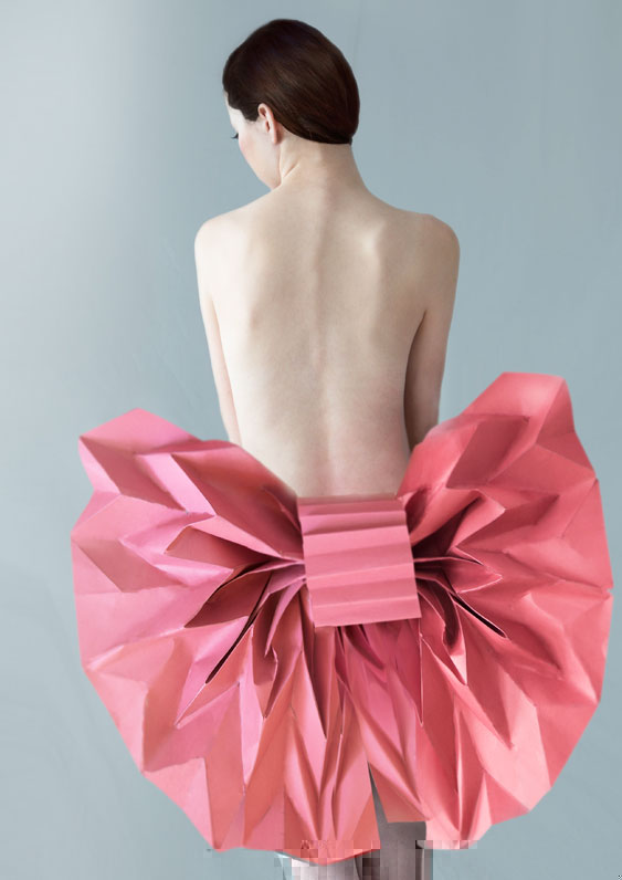 Beautiful, sexy back and big, pink, paper bow