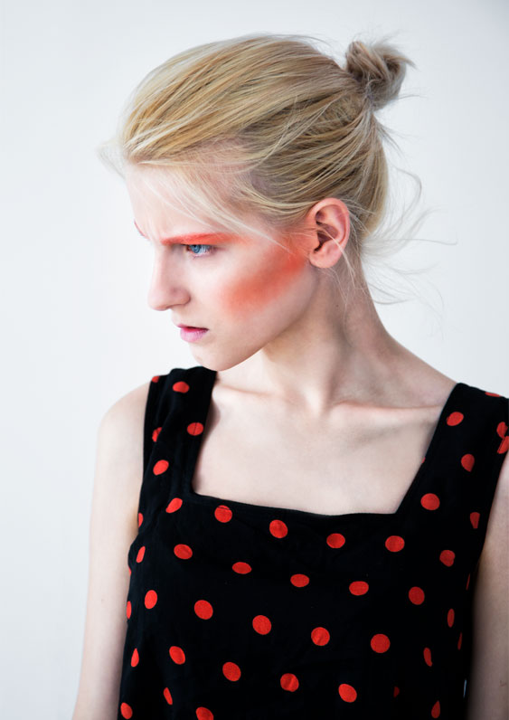 Androgynous beauty with geometric make-up